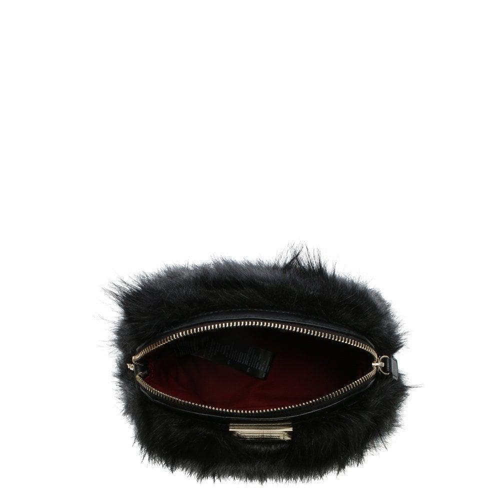34f8b389e6e1 Lyst - Emporio Armani Furry Sling Black Faux Fur Cross-body Bag in Black