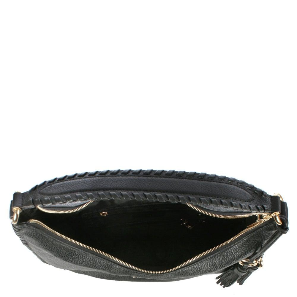 f856a4f19b389 Lyst - Michael Kors Lauryn Black Leather Large Shoulder Bag in Black