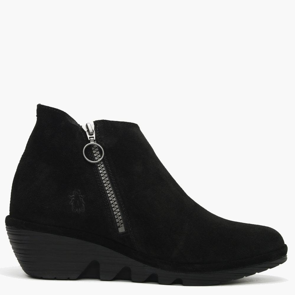 0eb3e5f98f8 Fly London Poro Black Suede Cleated Wedge Ankle Boots in Black - Lyst