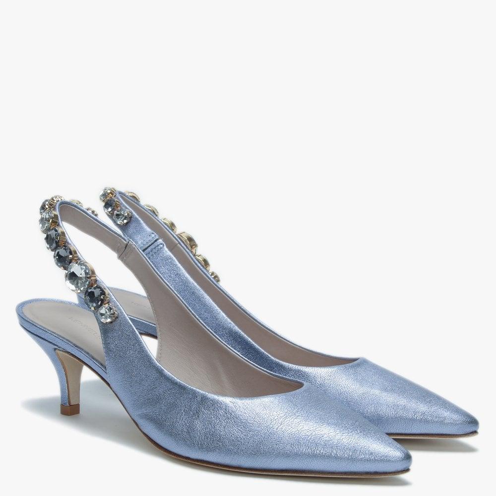51e9563e6d21 Kennel   Schmenger - Foxley Blue Metallic Leather Jewelled Sling Back Heels  - Lyst. View fullscreen