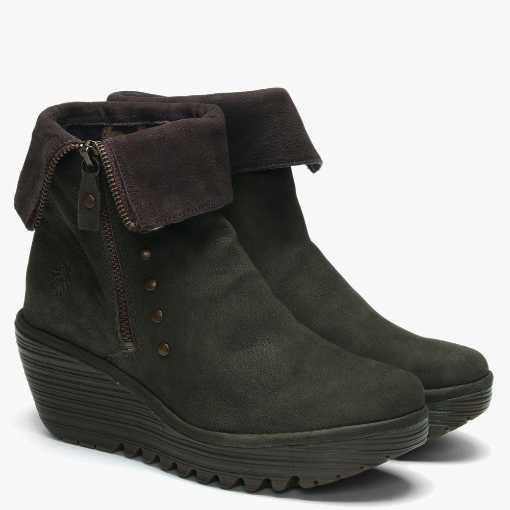 842f6a4a823 Lyst - Fly London Yemi Seaweed   Chocola Leather Mid Wedge Ankle Boots