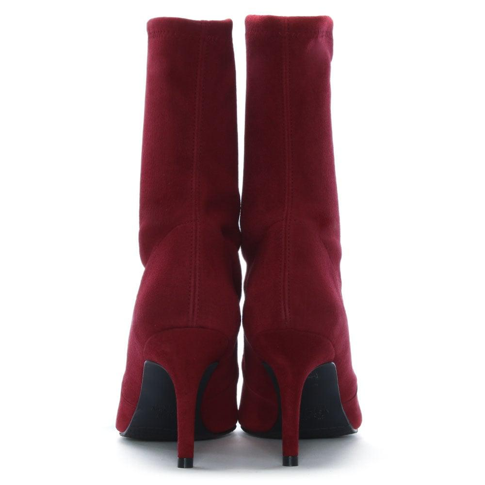 e25eef0e8334 Stuart Weitzman - Cling Scarlet Dark Red Suede Sock Ankle Boots - Lyst.  View fullscreen