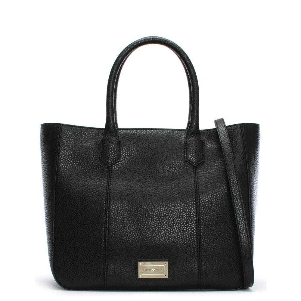 124a41b1d121 Emporio Armani Pebbled Black Tote Bag in Black - Lyst