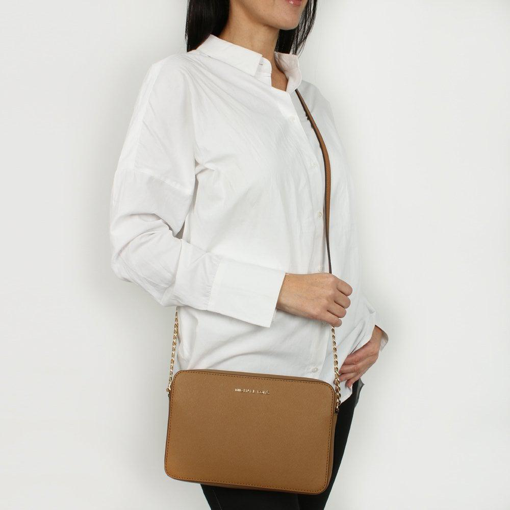 ad9bf0ccc2158d ... East West Large Luggage Saffiano Leather Cross-Body Bag - Lyst. View  fullscreen