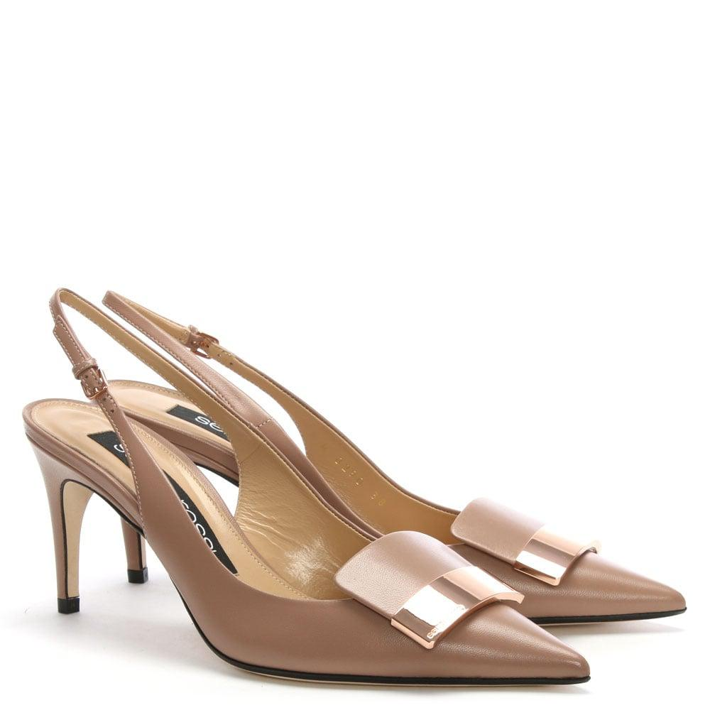 10f7912ef91 Sergio Rossi - Natural Sr1 75 Beige Leather Sling Back Court Shoes - Lyst.  View fullscreen
