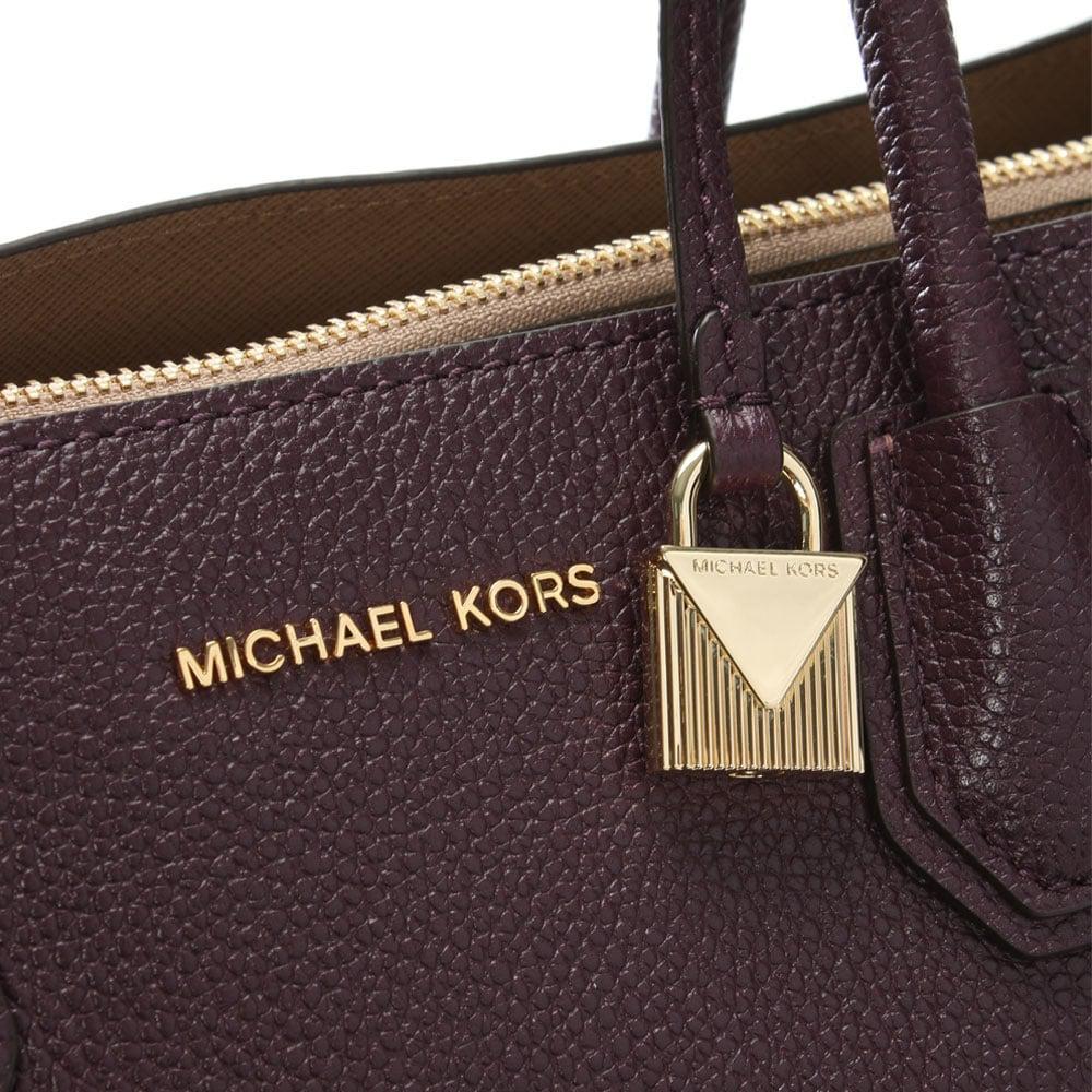 710b2352c42d Lyst - Michael Kors Mercer Damson Leather Large Satchel Tote Bag