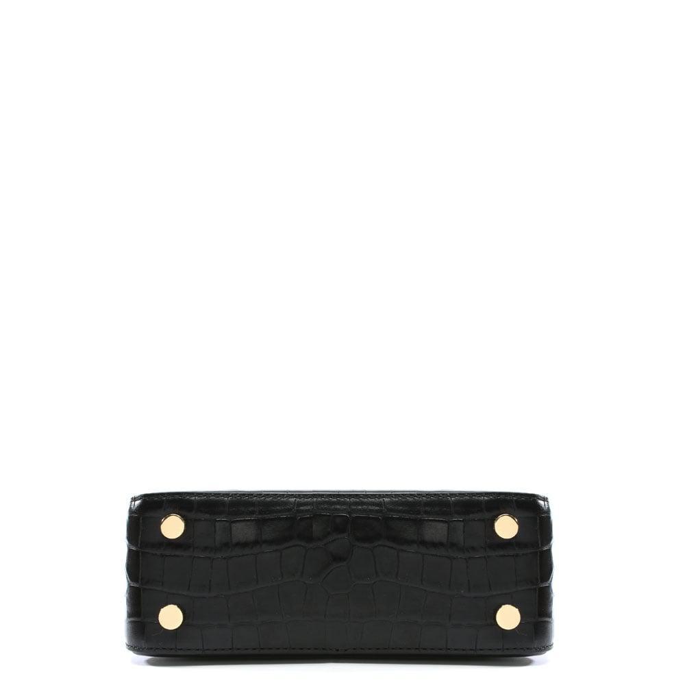 c786953949e4 Michael Kors Mercer Black Moc Croc Leather Dome Messenger Bag in ...