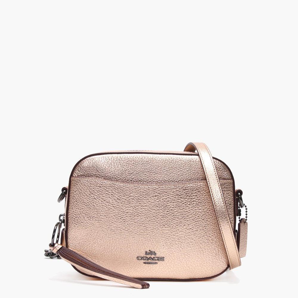 Lyst - COACH Metallic Rose Gold Leather Camera Bag in Pink 05a52b4125400