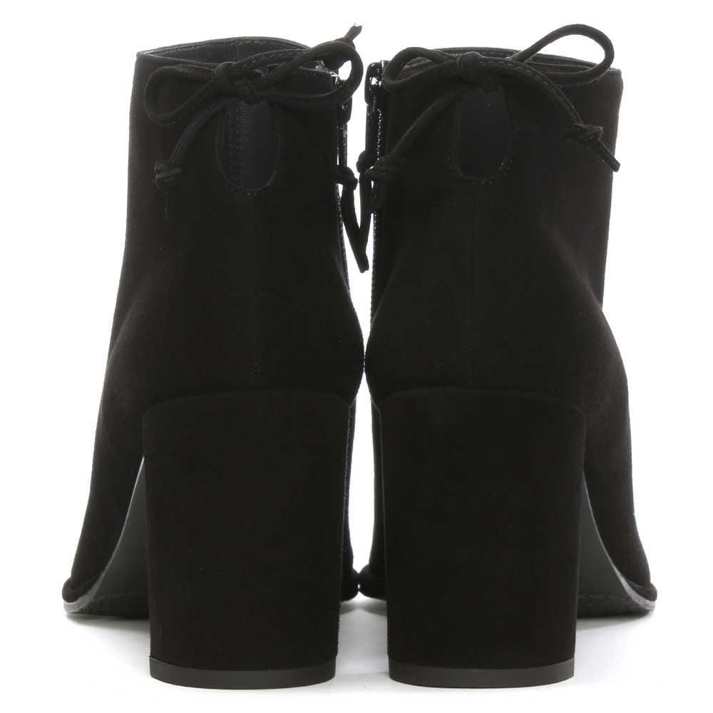 ad78480cc9b9 Lyst - Stuart Weitzman Lofty Black Suede Tie Back Ankle Boots in Black