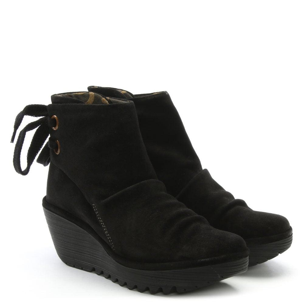 ca7194c6389 Fly London - Yama Black Suede Wedge Ankle Boots - Lyst. View fullscreen