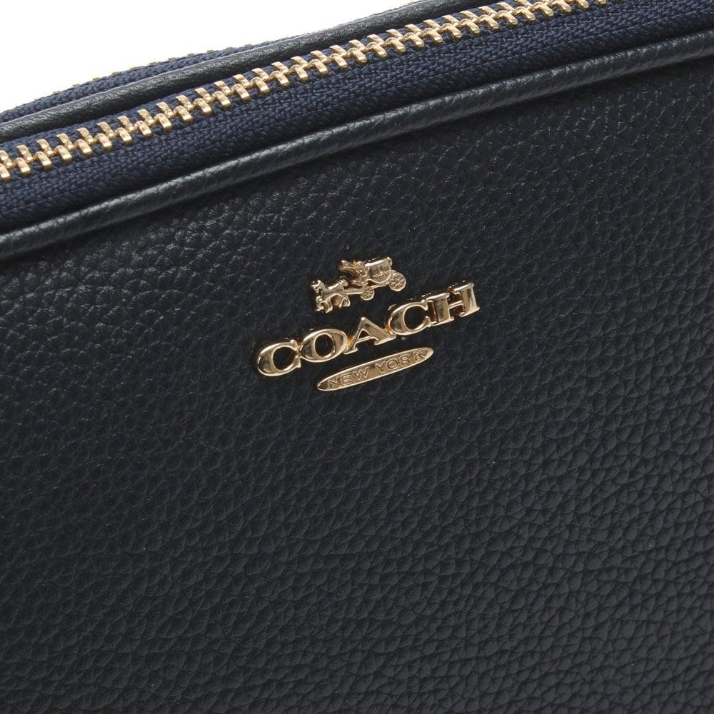 d89037c18a COACH Polished Navy Pebbled Leather Cross-Body Clutch Bag in Blue - Lyst