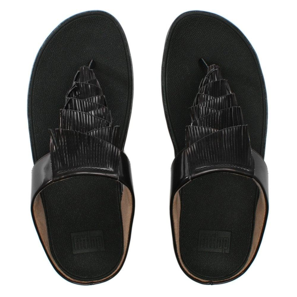 4a81cc3cbb115b Fitflop - Cha Cha Black Metallic Fringe Toe Post Sandals - Lyst. View  fullscreen