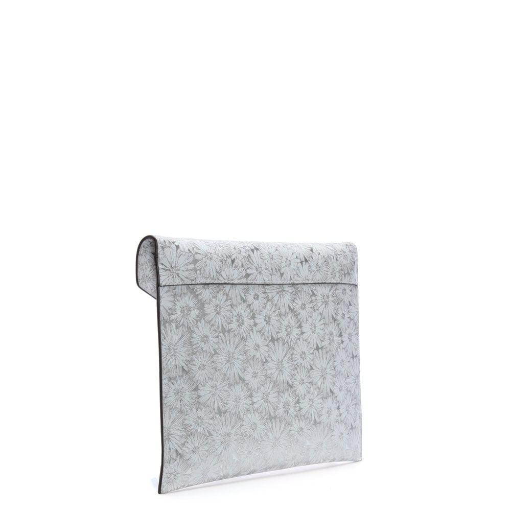 c2ce995fda20 ... promo code for michael kors barbara large white silver metallic floral  envelope clutch bag lyst.