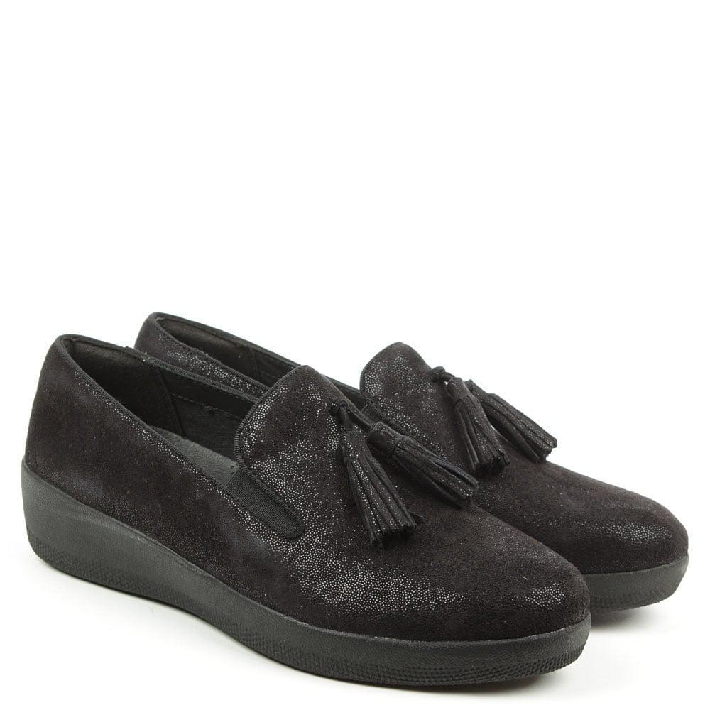 b05bf3e6a43 Lyst - Fitflop Tassel Superskate Black Shimmersuede Loafers in Black