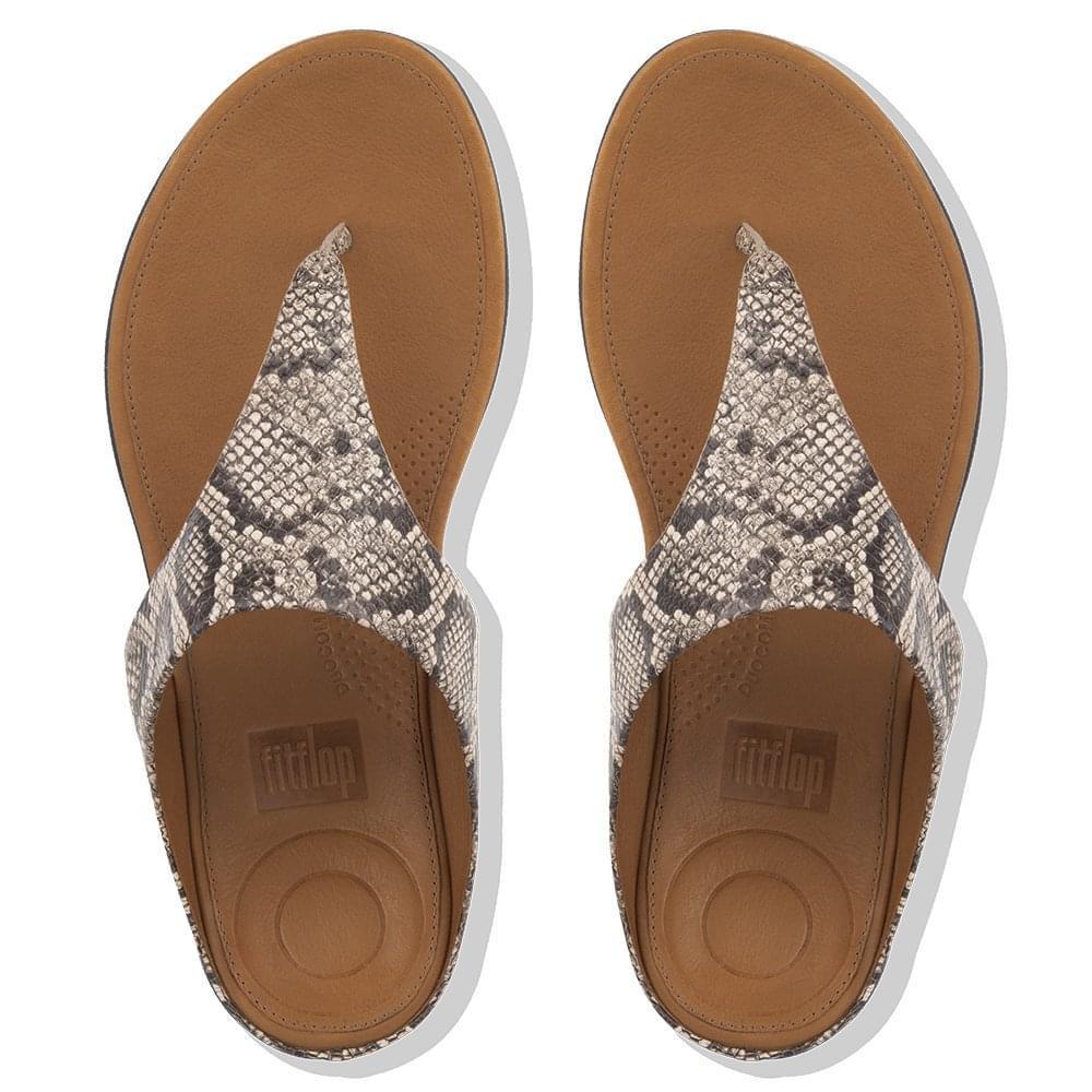 489b419901f51 ... Banda Taupe Snake Leather Toe Post Sandals - Lyst. View fullscreen