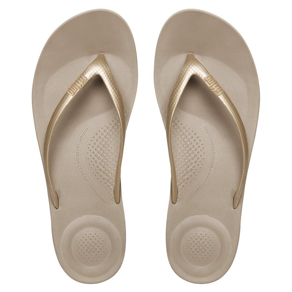 dab89fbb9fc Fitflop - Metallic Iqushion Gold Toe Post Flip Flop - Lyst. View fullscreen