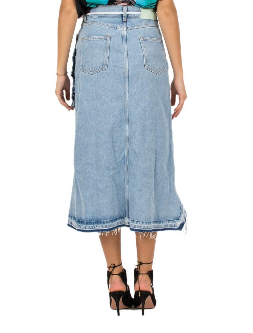c78d14dfab Off-White c/o Virgil Abloh Asymmetrical Denim Skirt in Blue - Lyst