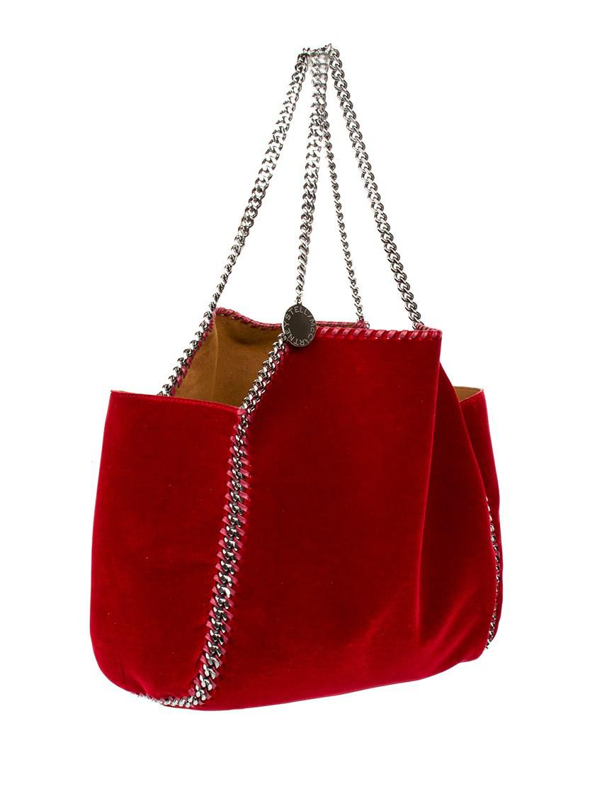Lyst - Stella Mccartney Falabella Reversible Velvet Tote in Red 2aa0d4bc919da