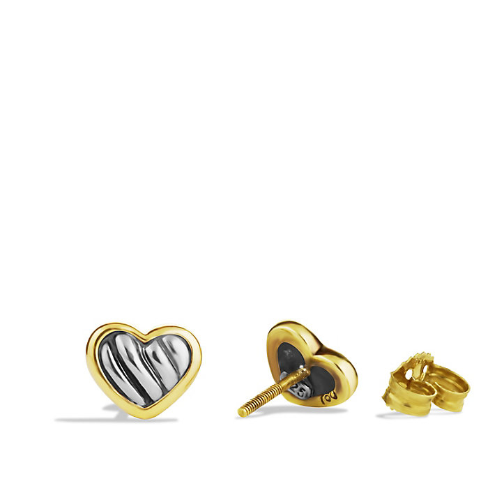 David Yurman Cable Kids Heart Earrings With Gold In