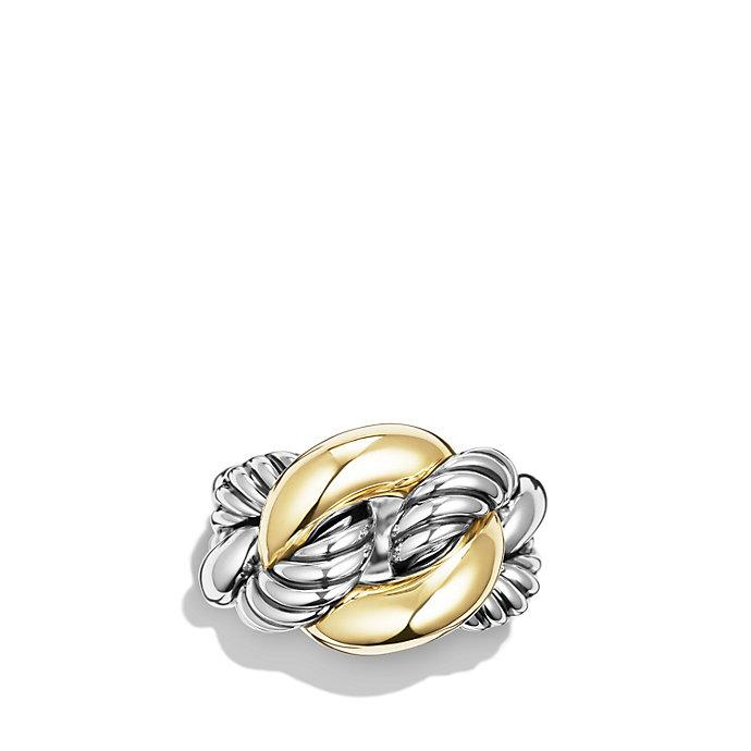 David Yurman Belmont Curb Link Ring With 18k Gold In