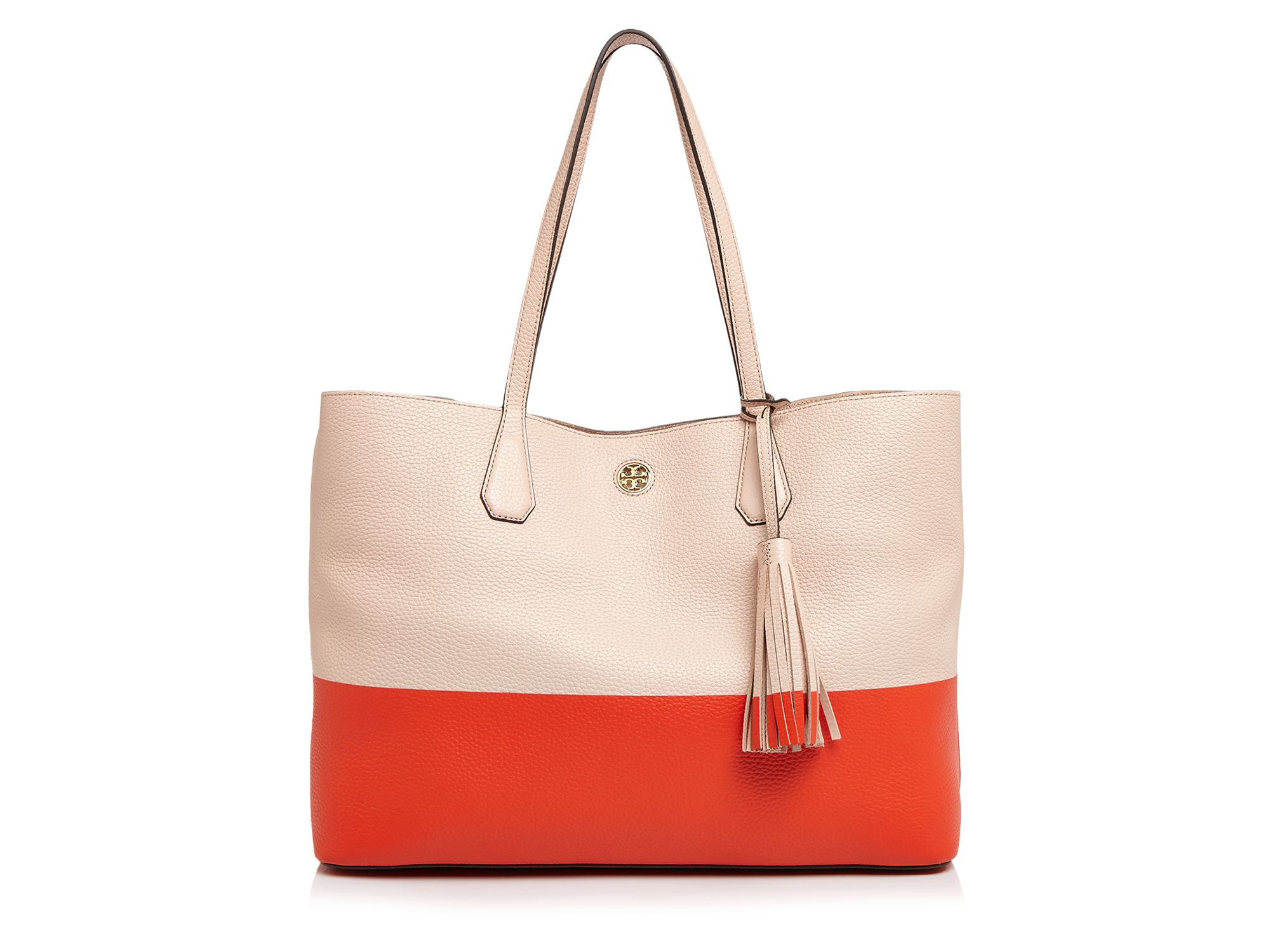 3d8f0462bed7 Lyst - Tory Burch Color Block Perry Tote - 100% Bloomingdale s ...