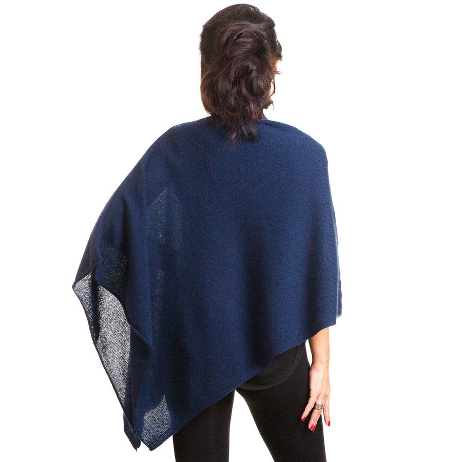 Black Co Uk Midnight Navy Blue Knitted Cashmere Poncho In