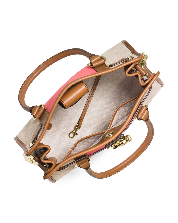 c7a15053eae4 ... top quality harper medium tote handbag 970a3 7422f greece lyst michael  michael kors hamilton center stripe
