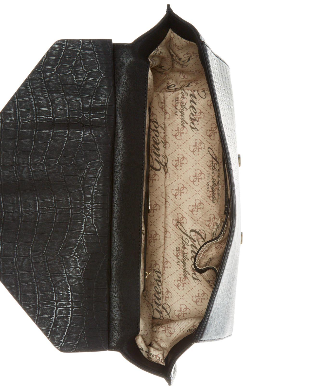 Lyst - Guess Casey Top Handle Flap Handbag in Black 7df953e1e57ef