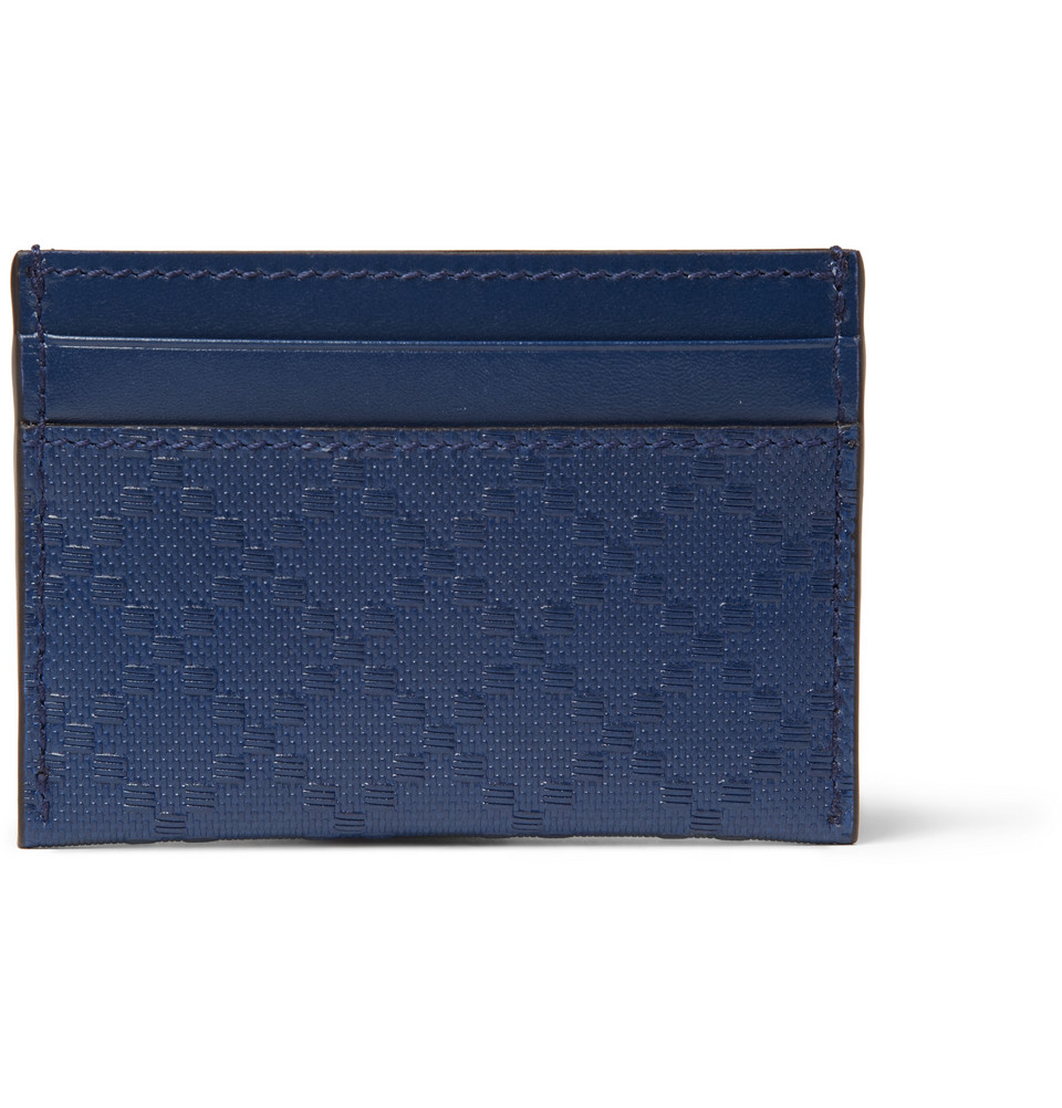 91eb33cf15f Gucci Embossed Leather Cardholder in Blue for Men - Lyst