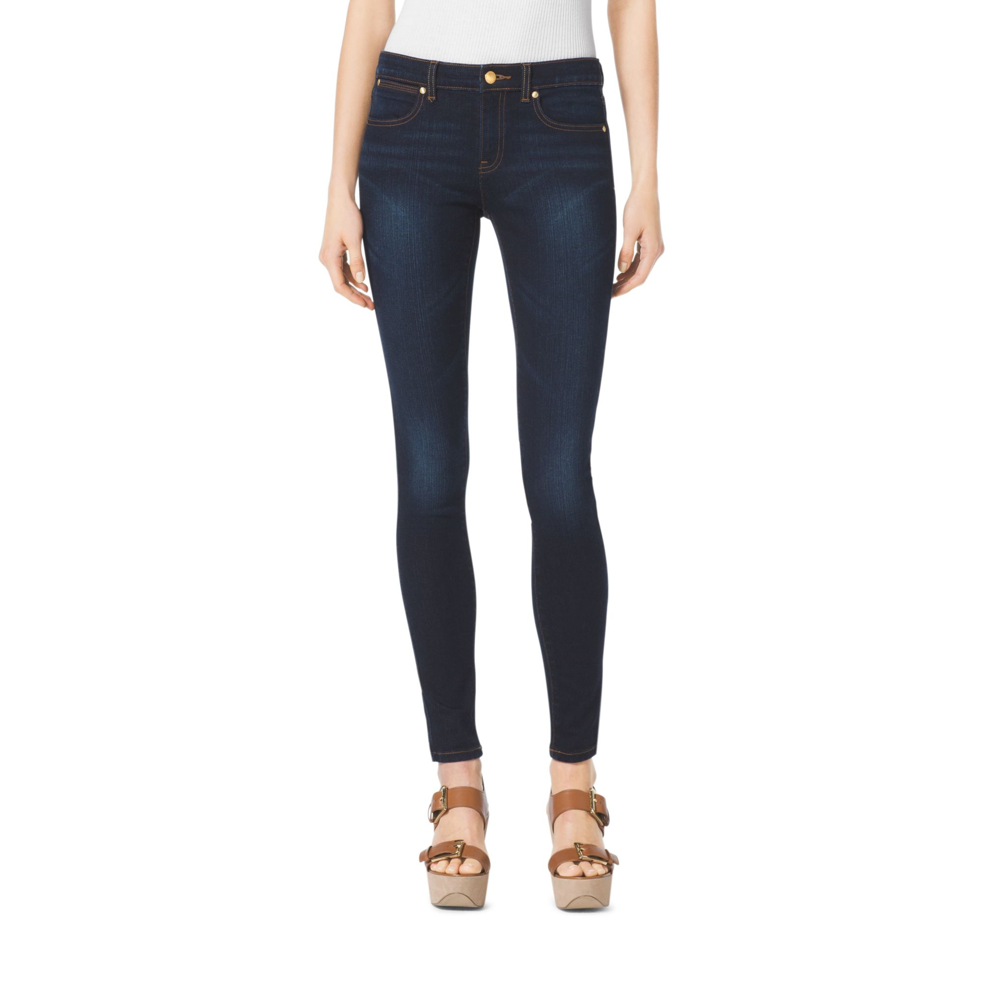 michael kors high waisted skinny jeans in blue lyst. Black Bedroom Furniture Sets. Home Design Ideas