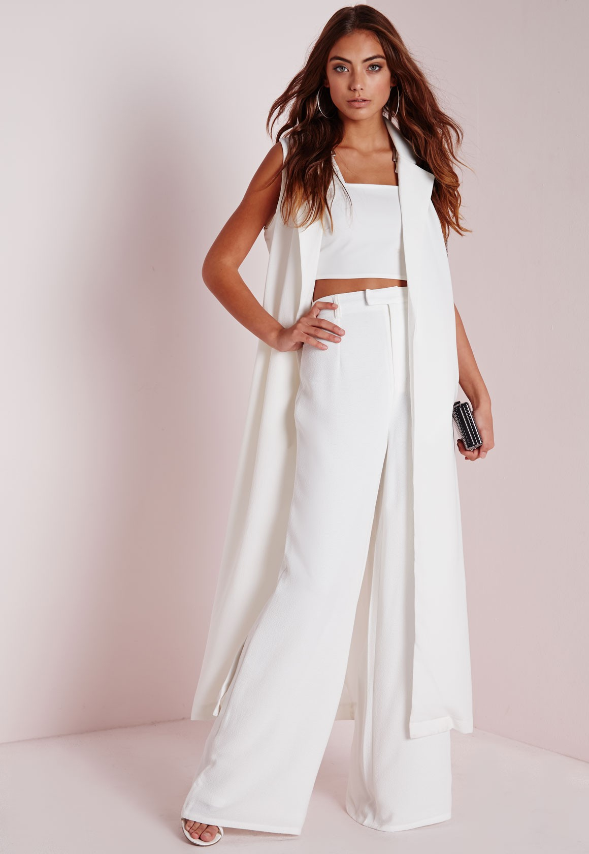 Lyst - Missguided Tall Premium Crepe Wide Leg Pants White in White dbb404ebbeb0