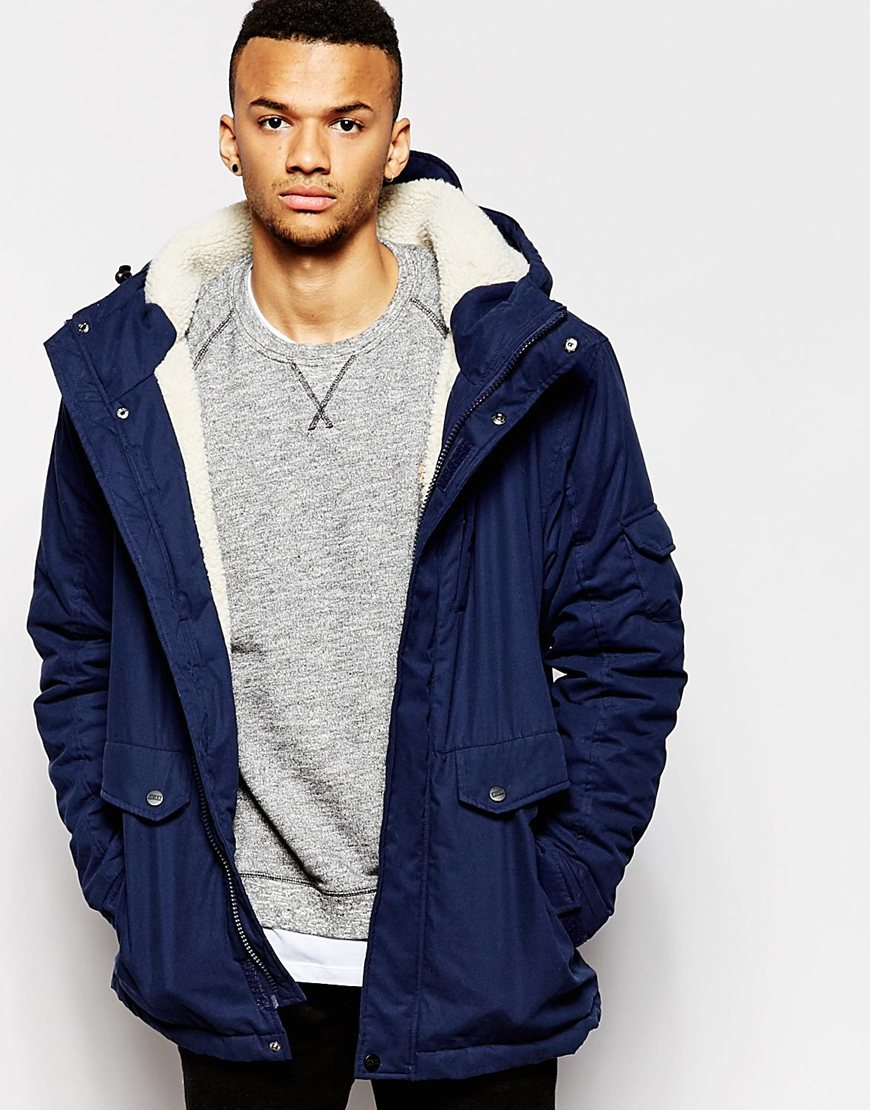 D-struct Stirling Sherpa Lined Parka Jacket in Blue for Men | Lyst