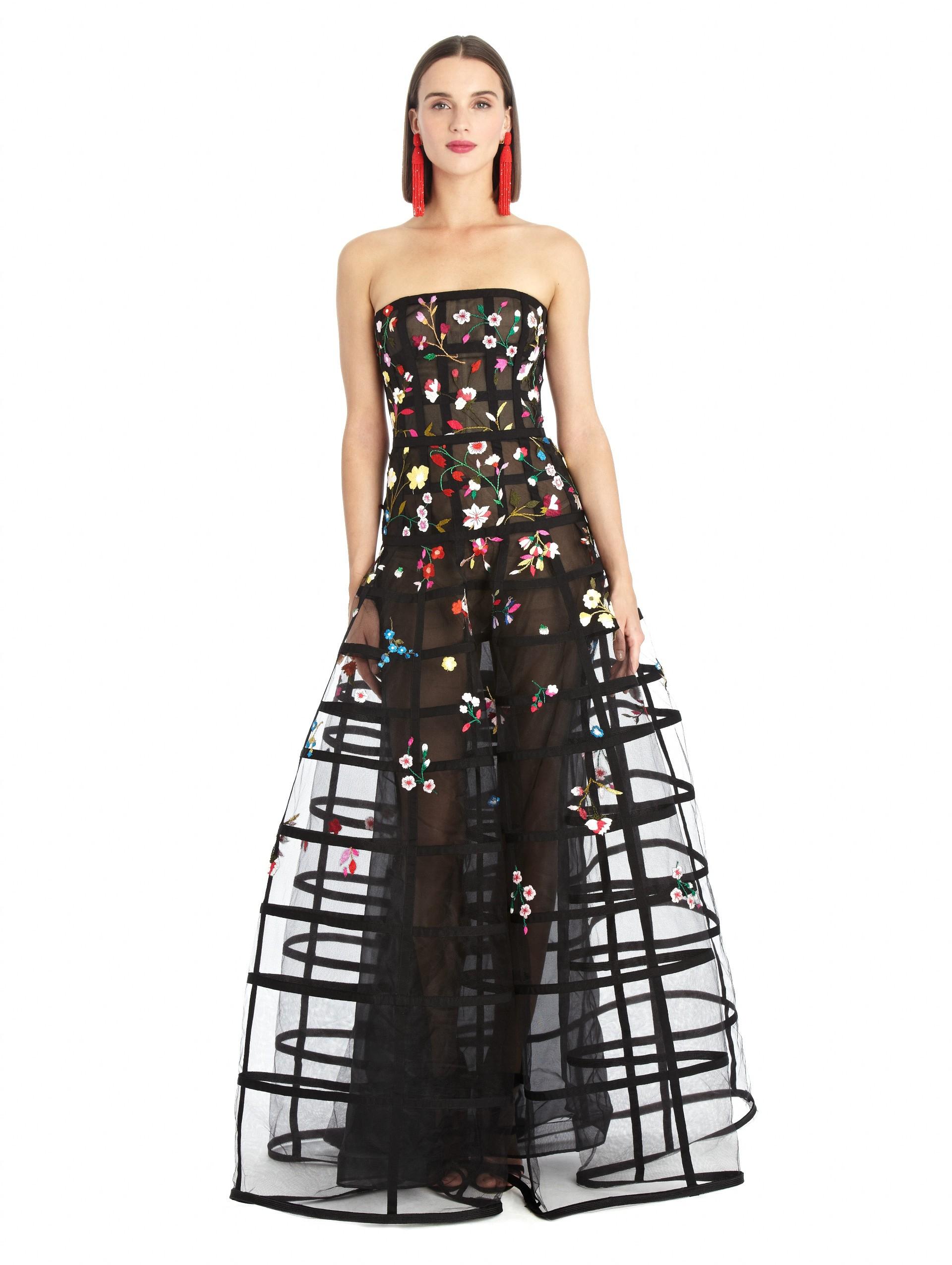lyst oscar de la renta floral embroidered cage tulle gown. Black Bedroom Furniture Sets. Home Design Ideas