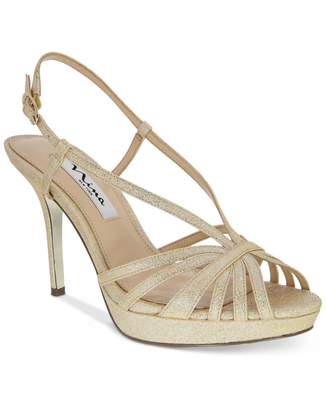 fenix platform evening sandals in gold platino lyst