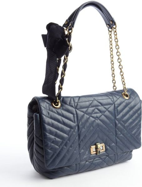 Lanvin Navy Blue Quilted Leather Happy Chain Shoulder Bag in Blue
