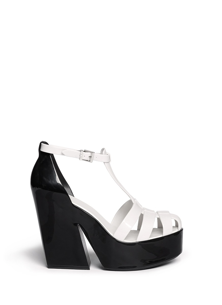 Melissa 'Strips' Colourblock Rubber Wedge Sandals in White ...