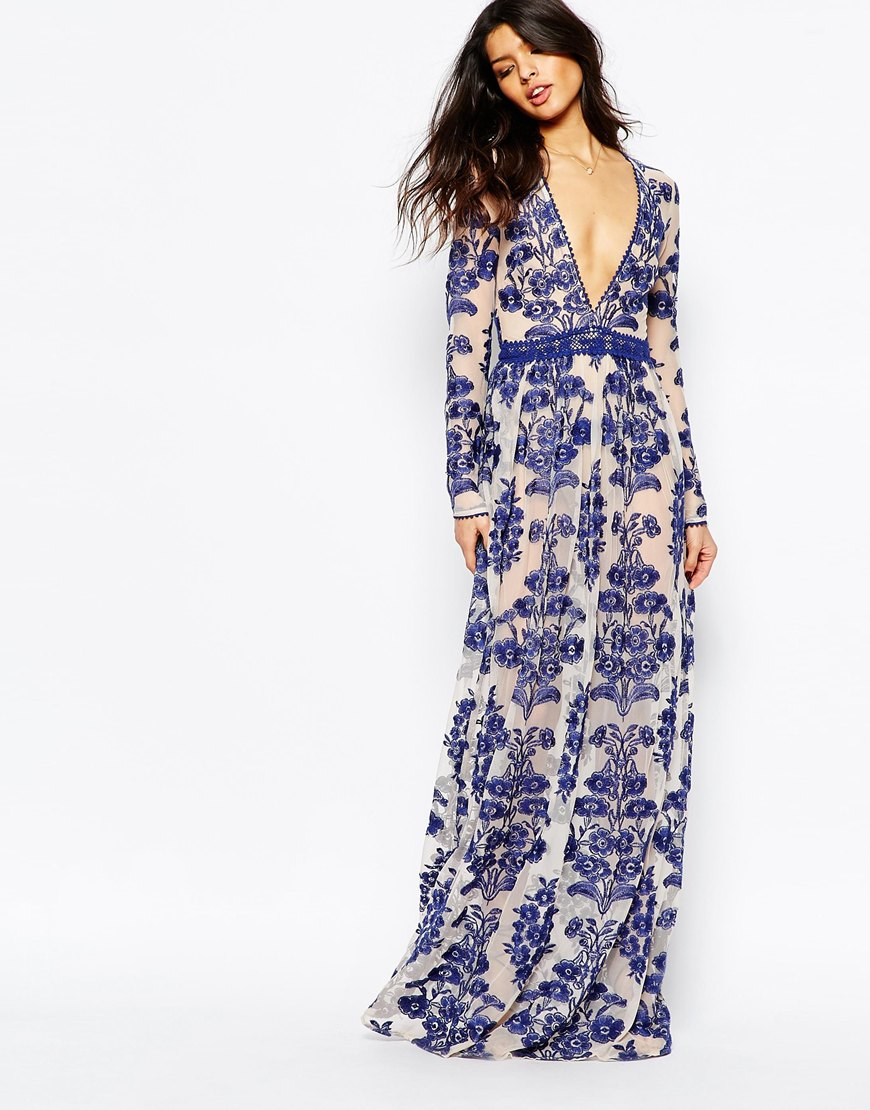 Lyst For Love Lemons Temecula Embroidered Maxi Dress In Blue