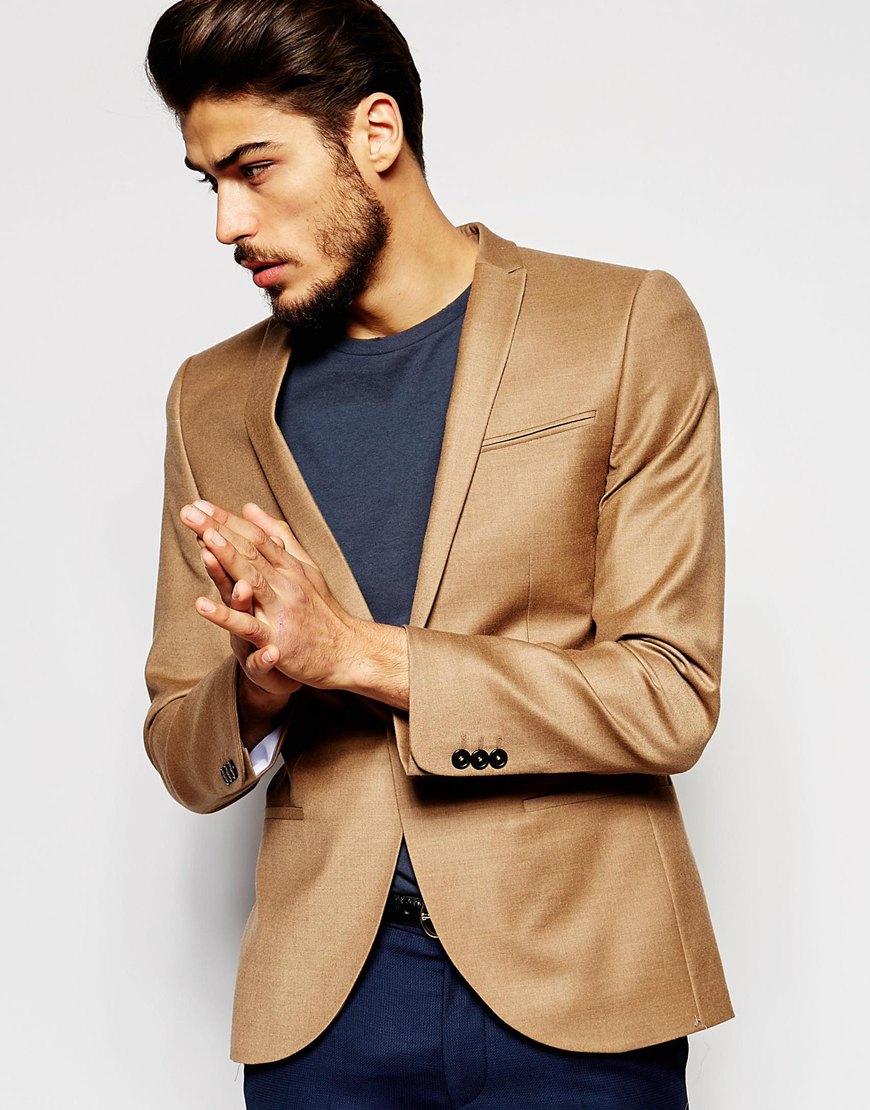 Noak Flannel Wool Blazer In Super Skinny Fit In Brown For