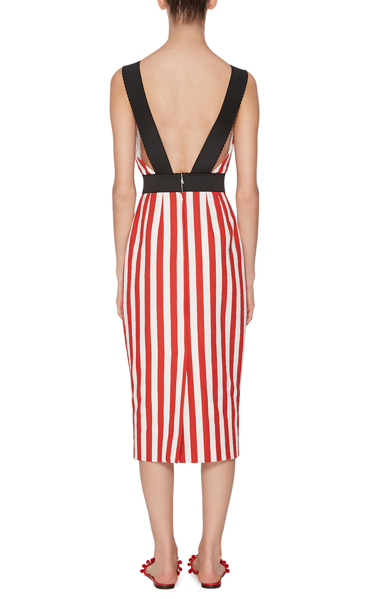 f12aff5d2ab Dolce   Gabbana Striped Cotton Sheath Dress With Sunbather in Red - Lyst
