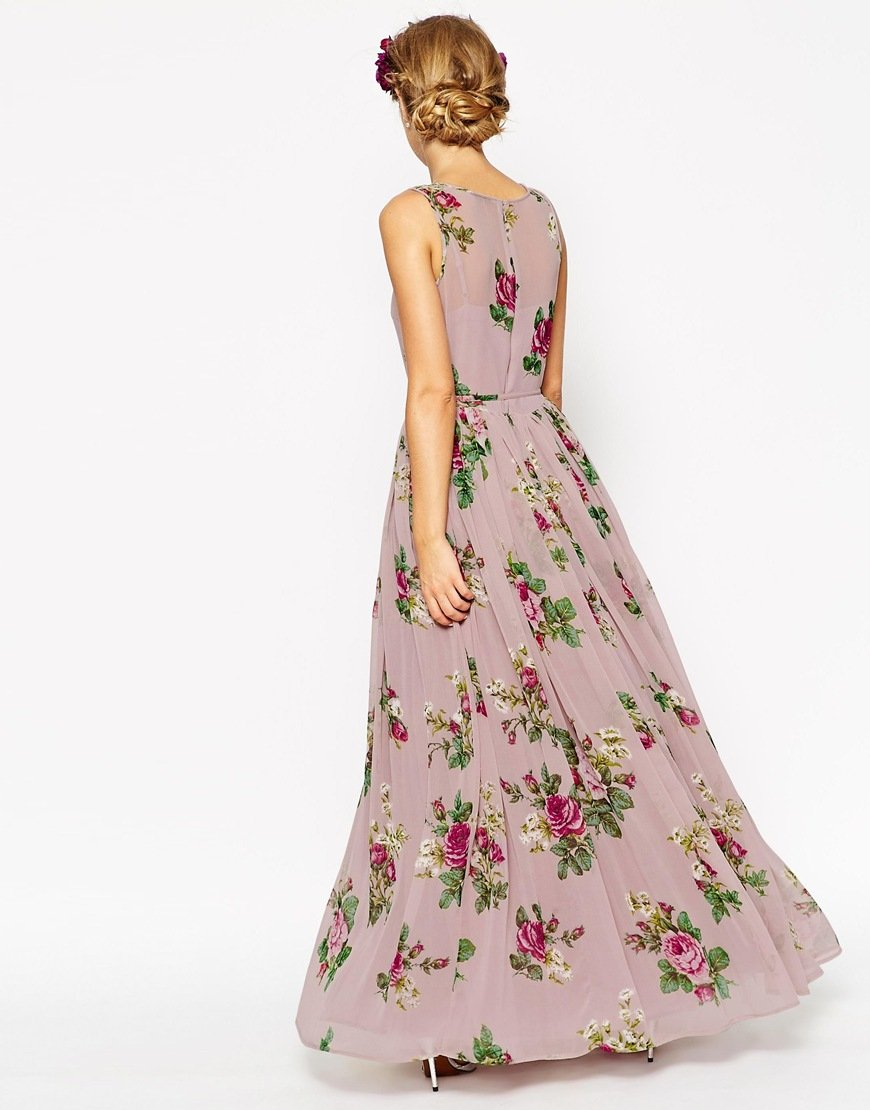 Asos Wedding Super Full Maxi Dress In Floral Print In Pink
