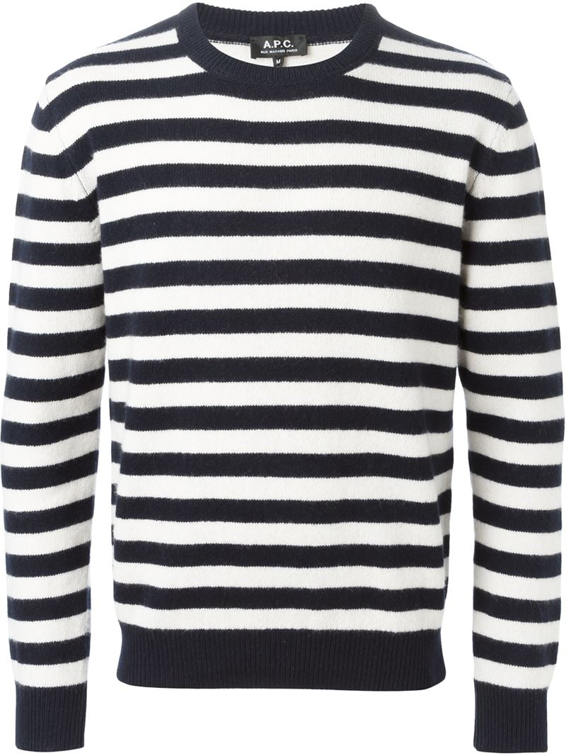 Lyst Apc Striped Sweater In Blue For Men