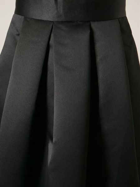 lulu co satin box pleated skirt in black