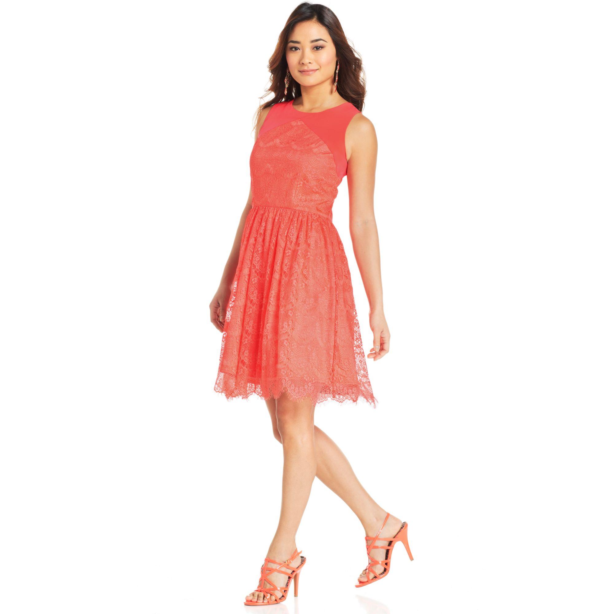 dc13269e5dcd Jessica Simpson Sleeveless Cutout Lace Dress in Orange - Lyst