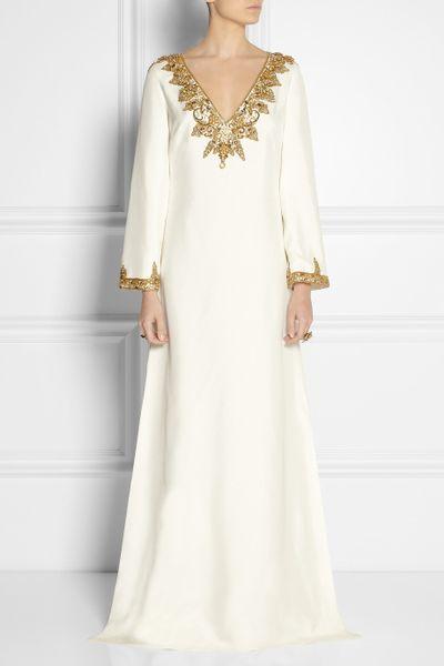 Marchesa embellished silk shantung kaftan style gown in for White kaftan wedding dress