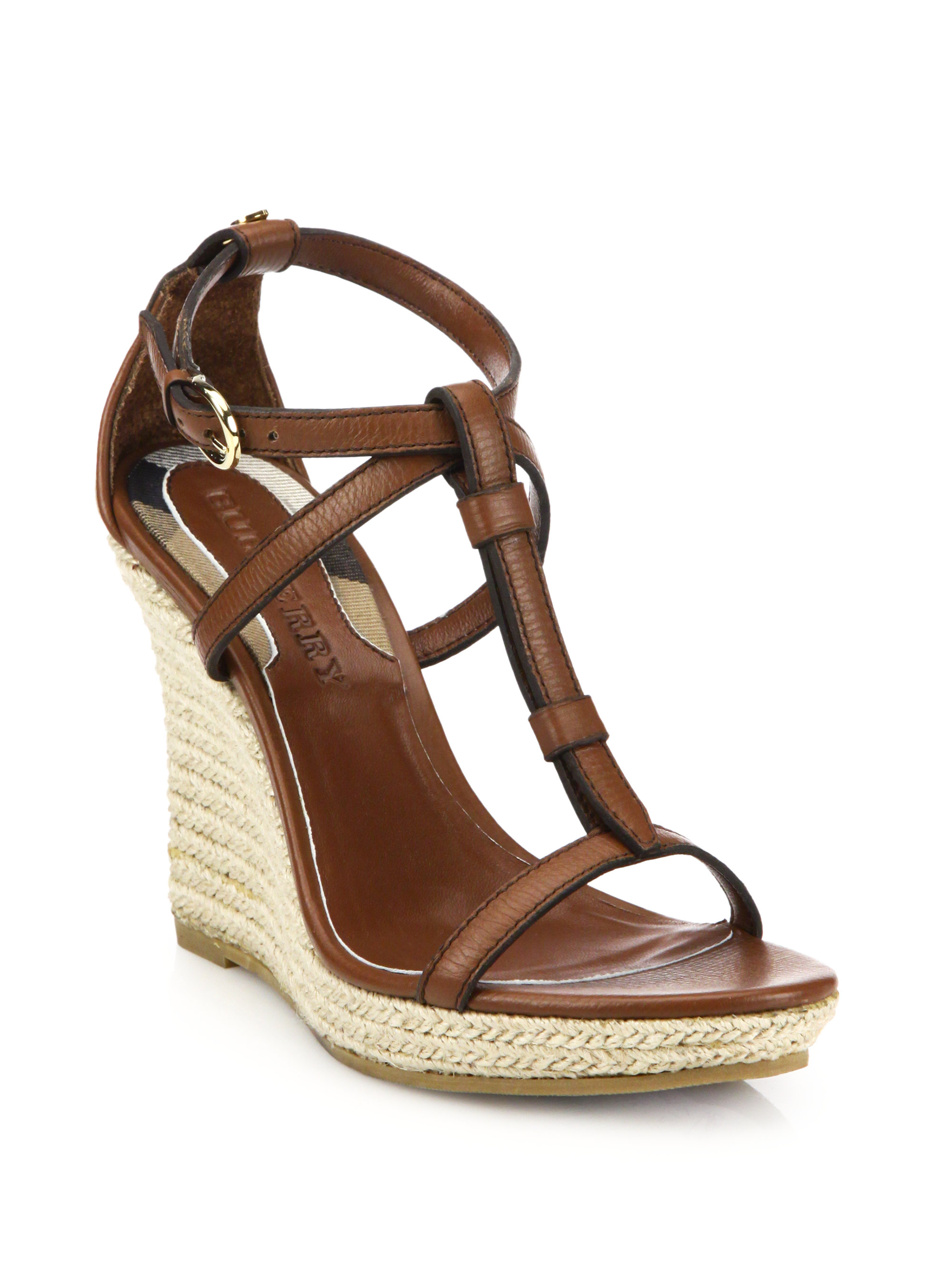 Burberry Wedland Leather Wedge Espadrilles In Brown Lyst