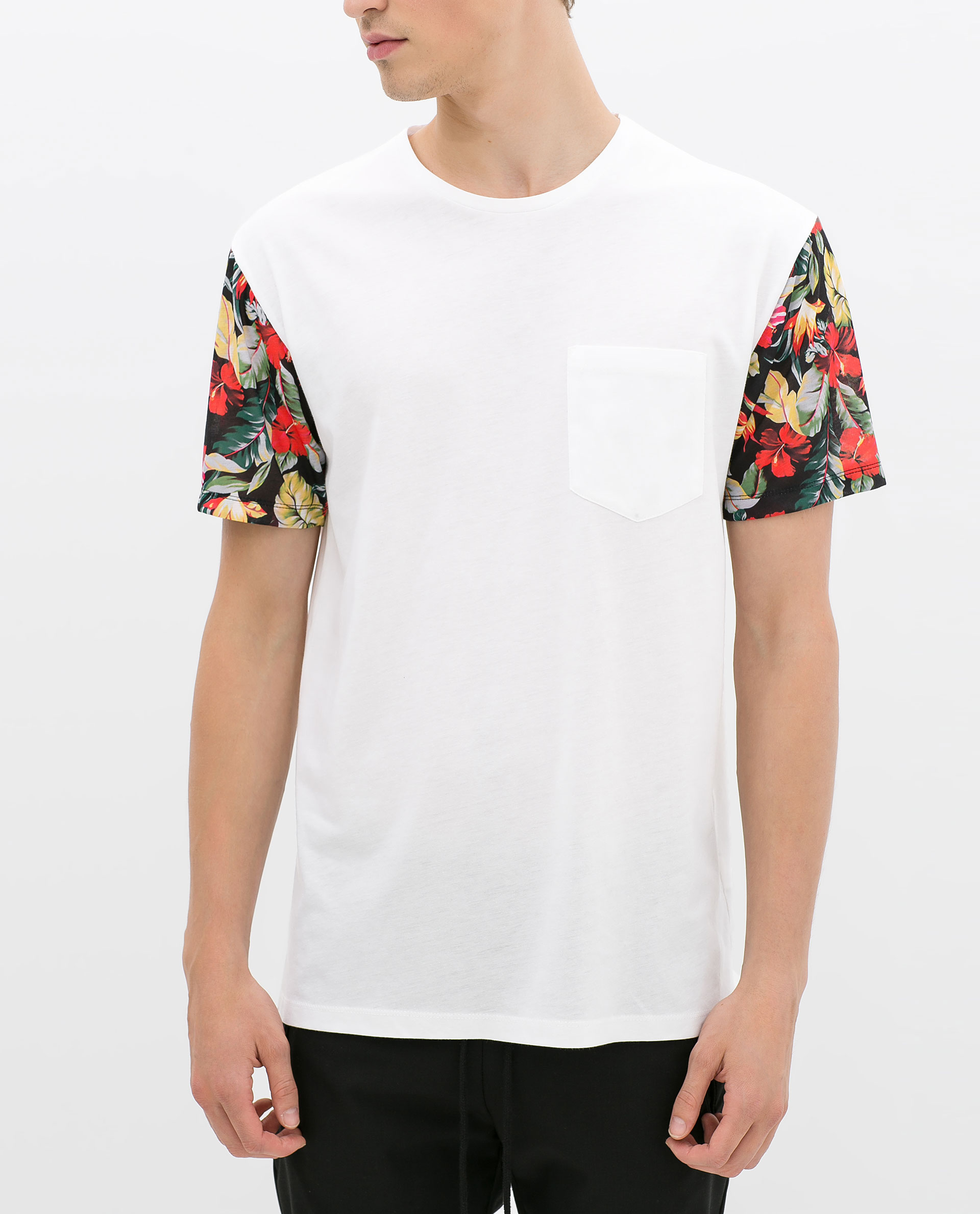 Zara tshirt with floral sleeve in white for men lyst for Floral mens t shirts