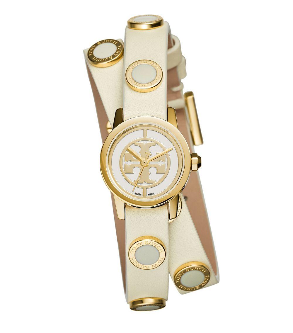 bdb81bf6dcd Lyst - Tory Burch Reva Mini Studded Double-wrap Watch