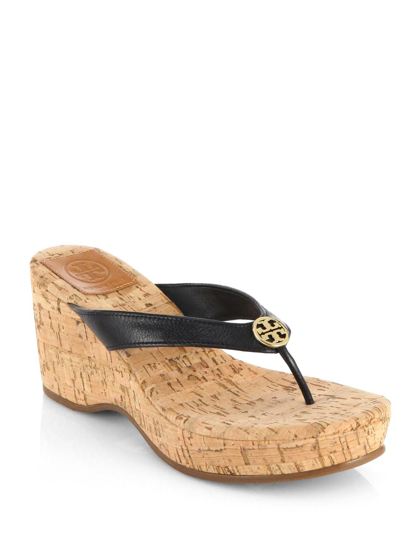 25d0d209d57ff9 Lyst - Tory Burch Suzy Leather Cork Wedge Sandals in Black