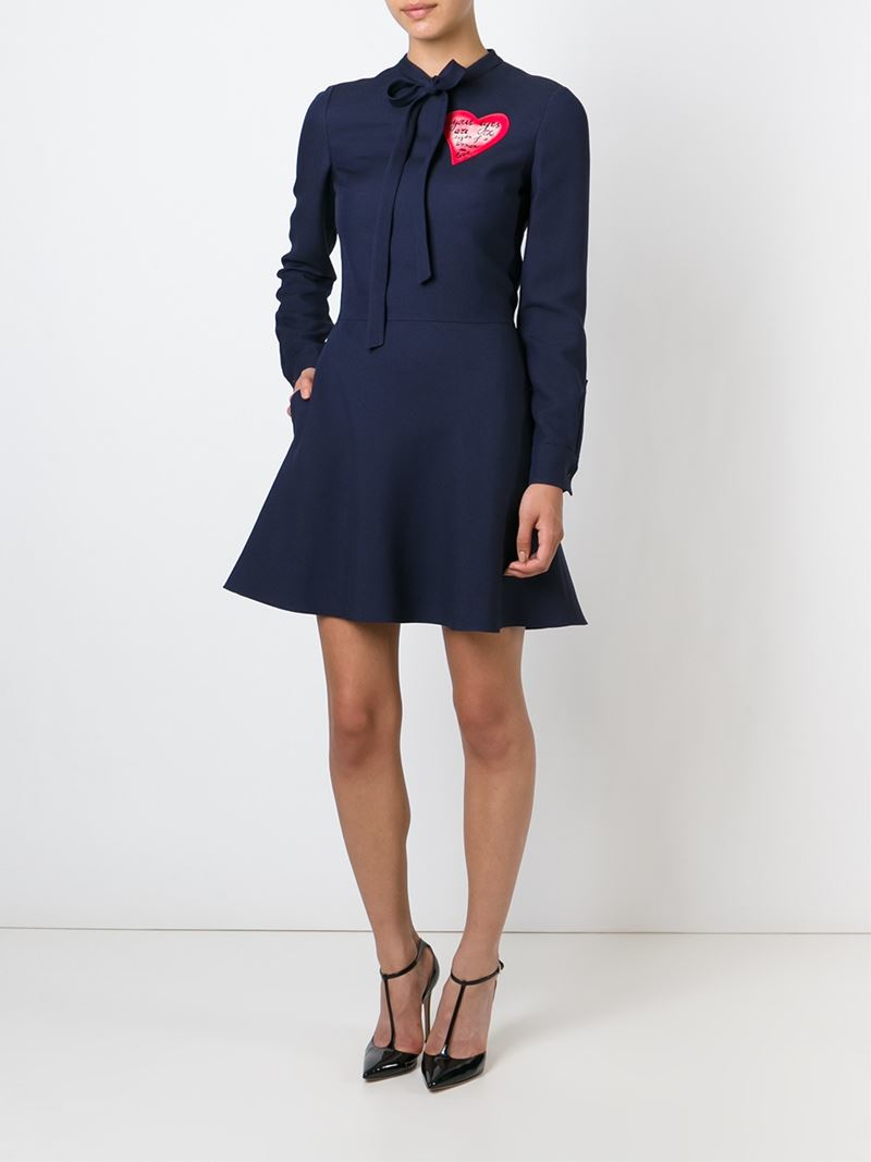 valentino bow wool dress in blue lyst