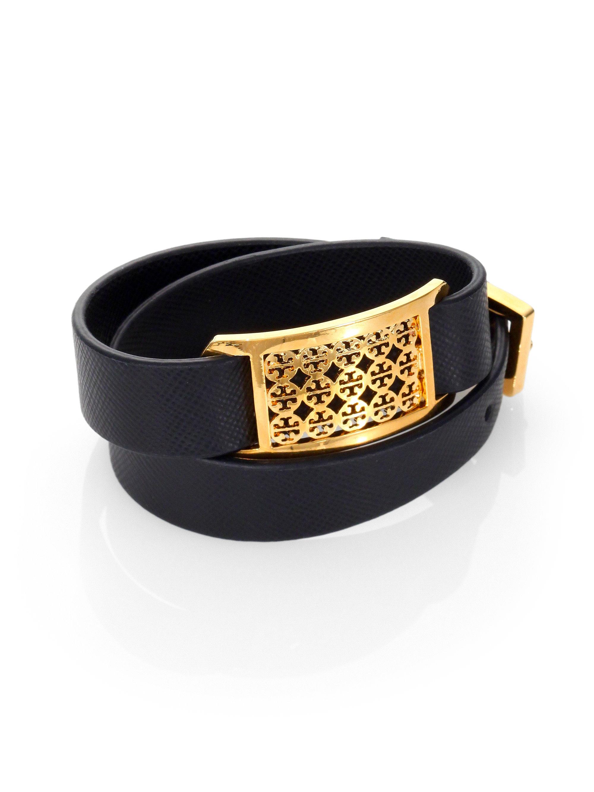 burch saffiano leather wrap bracelet